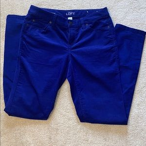 Loft modern skinny blue corduroy pants